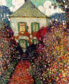 """The House of Jean-Jacques Rousseau,1936. Henri Le Sidaner (1862-1939) was an intimist painter born to a French family in Port Louis, Mauritius. Marcel Proust's mention of Le Sidaner's work in his novel In Search of Lost Time confirms its later reputation. In Sodom and Gomorrah, the narrator mentions that an eminent barrister from Paris had devoted his income to collecting the paintings of the """"highly distinguished"""" but """"not great"""" Le Sidaner."""