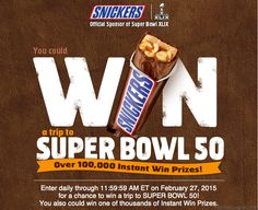 Enter The Snickers Superbowl Satisfaction Instant Win Game! Starts Now!