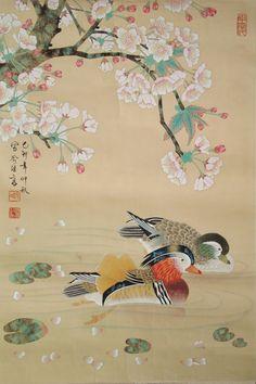 Japan Painting, Ink Painting, Watercolor Art, Canard Mandarin, Mandarin Duck, Asian Artwork, Chinese Artwork, Korean Painting, Chinese Painting