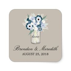Mason Jar Floral Wedding Square Sticker