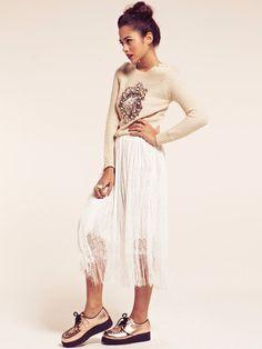 Atlanta White Boho Fringe Midi Skirt