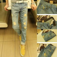 2014 New Arrival Mens Distressed Jeans Ripped,Slim Straight Cotton Denim Fashion Mens Designer Skinny Jeans Famous Brand US $25.50
