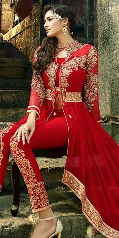 Stunning Red And Beige Georgette Designer Full Length Anarkali Suit With Chiffon Dupatta.