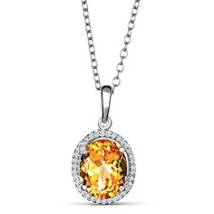MSRP: $399.99   Our Price: 249.99   Savings: 150.00    Item Number: PB2802ACTD    Availability: Usually Ships in 5 Business Days    PRODUCT DESCRIPTION:    This elegant necklace for her features an intense genuine Oval cut Citrine gemstone perfectly framed by a halo of sparkling diamonds. This fine jewelry necklace is styled in sterling silver and is suspended on an 18 inch chain.    FEATURES:    Crafted in Fine Sterling Silver  8 x 8 mm Oval Cut Citrine  Diamond Halo Design  18.0 Inch…