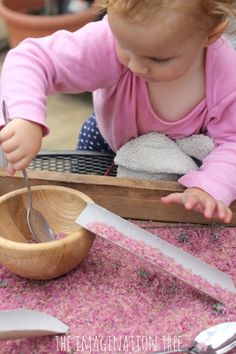 Lavender Sensory Rice ~ Pouring and scooping; add tubes from aluminum foil boxes to the sensory bin. (From The Imagination Tree) Nursery Activities, Sensory Activities, Infant Activities, Activities For Kids, Preschool Projects, Motor Activities, Sensory Tubs, Baby Sensory Play, Sensory Rooms