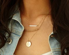 Layered Gold Necklace Set  Simple Dainty Bar by LayeringLove, $62.00