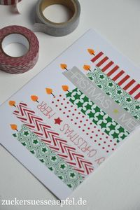 Very easy Christmas cards made with masking tape .- Kinderleichte Weihnachtskarten mit Masking Tape selbst gemacht ♥ ️ Sugar-sweet apples ♥ ️: Easy Christmas cards made with masking tape - Simple Christmas Cards, Homemade Christmas Cards, Homemade Cards, Handmade Christmas, Christmas Diy, Diy Holiday Cards, Navidad Simple, 242, Childrens Christmas