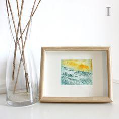 Láminas Grabado Monotipo/Punta seca original. Trazos Montaña. Con Marco. 15x20 cm (interior 7.5x9.5 cm) de RainTreePrintmaking en Etsy