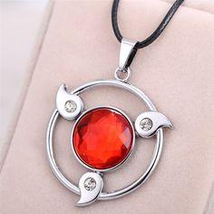 New Cospaly Jewelry Anime Naruto Necklace Kakashi Uchiha Itachi Pendant Magatama Write Round Eyes Wheels Red - free shipping worldwide