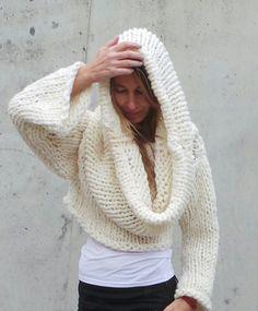 übergroße Pullover / Elfenbein / klobig / Hooded Hoodie von ileaiye