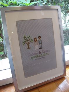 Framed Wedding Cross Stitch by thistle.town, via Flickr