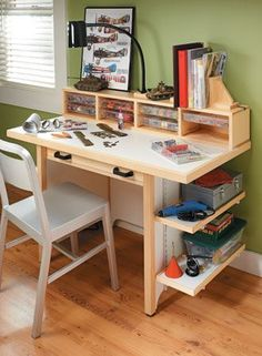 This compact bench has storage galore, plus plenty of room to spread out and get to work.