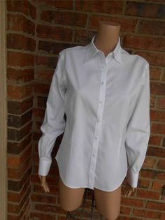 BROOKS BROTHERS Women Fitted Shirt Size 8 Stretch Non No Iron Blouse Top White #BrooksBrothers #ButtonDownShirt #Casual
