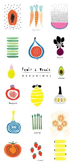 Home Design Drawings Dekanimal Art illustration kid's room decor Fruits and Veggies print Home decor Nursery print Kitchen art Art And Illustration, Illustrations And Posters, Graphic Design Illustration, Vegetable Illustration, Pattern Illustration, Guache, Kitchen Art, Room Kitchen, Kitchen Cabinets