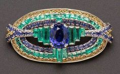Art Deco Sapphire and Emerald Brooch, Tiffany & Co.
