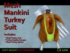 {KW} Mesh Turkey Mankini Costume Box