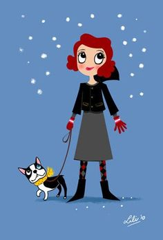 Boogie Boston Terrier Winter  mini print 5 x 7 by doggiedrawings