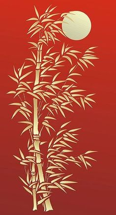 Bamboo Stencils Oversize Bamboo and Moon Stencil: