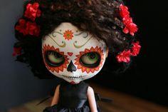Day of the Dead Dia de los Muertos Blythe doll skull mask
