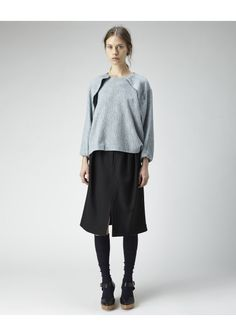 Tova Top by A Détacher.  Boxy gauze top with long sleeves, concealed back zip & overlap detail at front. Worn with / A Détacher Sage Skirt, A Détacher Over the Knee Socks & A Détacher Michelle Clog.