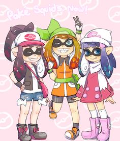 Hold on a sec... These is a Pokémon/Splatoon crossover! Y'see, (according to the anime) the one in the center May and the one in the right is Dawn! But the one in the left... I'm not so sure...