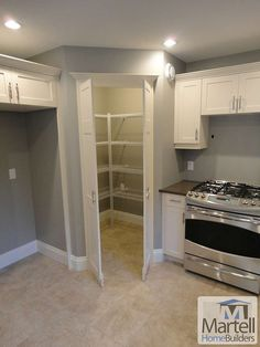 New kitchen corner pantry layout double ovens ideas Kitchen Pantry Design, Kitchen Pantry Cabinets, New Kitchen, Kitchen Storage, Wall Storage, Pantry Storage, Storage Cabinets, Kitchen Ideas, Hidden Storage