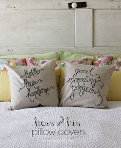 hers and his pillow covers made with a Sharpie! These are so pretty. I can't believe how easy they are to make.
