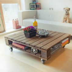 Industrial style reclaimed pallet coffee table - small | eBay