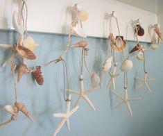 Seashell Garland Beach Decor - Nautical Decor Starfish Garland W Shells & White Starfish on Luulla
