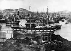 The California Gold Rush was first reported in a US east-coast newspaper in 1848. Thousands of people from around the world descended on California to try their luck at 'striking it rich'. This photograph, from 1850, shows ships in San Francisco Bay that had been abandoned by their crews for the gold fields.  Many ships were eventually salvaged for their wood and furnishings, and used for buildings in San Francisco.