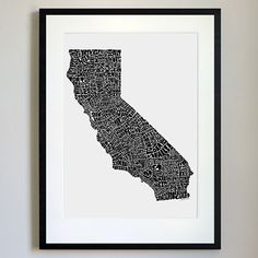 California Typography Map Black/White Print | State Traditions