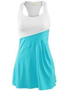Plain White and Aqua colour Dress | Tennis Dresses | Tennis Skirts | Tennis Ladies Apparel @ www.FitnessGirlApparel.com