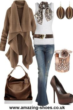 Sweater and animal print scarf