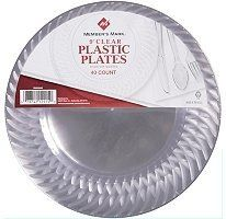 Member's Mark Clear Plastic Plates - 9in/40ct by Member's Mark. $17.99. # 40 - 9 in. plates # Premium quality clear plates # Resists sharp utensil usage # Disposable # Ideal for foodservice or catering # Matches the look of the ensemble of clear cups, clear cutlery, and clear straws available at SAM's Club