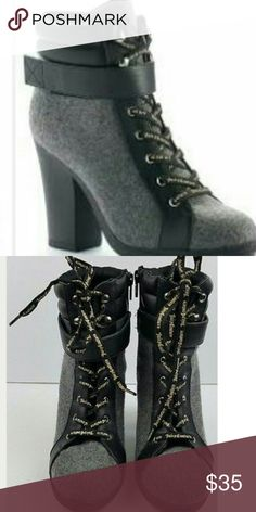 JUICY COURTURE  HEEL BOOTIES.   NEW JUICY COURTURE  HEEL BOOTIES size 8 , black an grey ,  Juicy Couture laces. , New without tags , never worn ,  no holes or scuffs , no box , excellent condition ,smoke free an pet free home. Juicy Couture Shoes