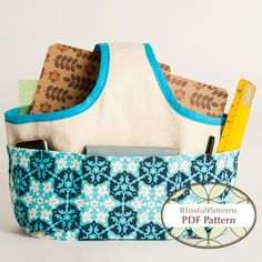 Fabric Basket- Handle Style. Unusual design. Pattern is $5.