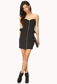 Rebel Girl Zippered Bodycon Dress | FOREVER21 The perfect dress for any #NYE plans! #Zipper #Ruffle