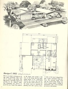 Vintage House Plans 1932 Contemporary House Plans, Modern House Plans, House Floor Plans, Courtyard House Plans, Atrium House, Vintage House Plans, Vintage Homes, House Illustration, Sims House