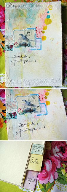 I have the exact same bird stickers...this is a beautiful idea. Carnet de Printemps by Pretty Arty, via Flickr