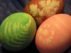 White crayon and dye technique for natural Easter egg dye.