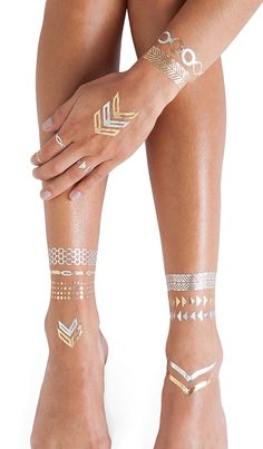 FLASH Tattoos Lena Tattoos in Metallic Gold