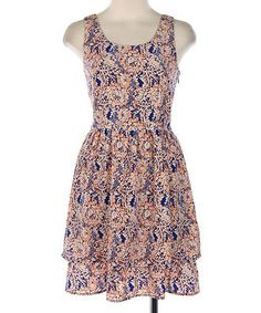 Love this Hello Miss Royal Blue & Coral Floral A-Line Dress by Hello Miss on #zulily! #zulilyfinds