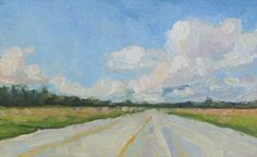 """Clouds Up Ahead, Study, Oil Painting on Oil Paper, Matted and Framed, 11"""" x 13"""" (FS) by NanciCharpentierArt on Etsy"""