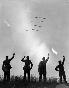 RCAF planes flying over England, 1941. Poetic image...