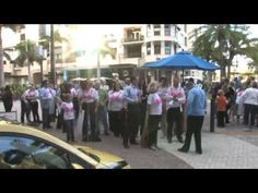 Lawyers v. Breast Cancer, Put On Your Pink Bra - Flash Mob. A group of Naples lawyers decided to raise awareness for the fight against breast cancer