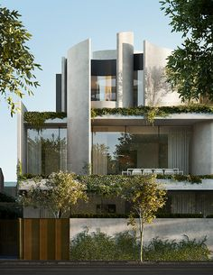 Residential Architecture Building is part of Facade house - The building is raised over the earth on structural posts to lessen the effect of foundations on water flow on the other side of the website Villa Design, Facade Design, Modern House Design, Exterior Design, Modern Tropical House, Tropical Homes, Design Art, Perspective Architecture, Architecture Résidentielle