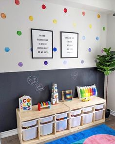 These rainbow dots make for a fun pop of color in the playroom. And that Fresh Prince of Bel-Air wall print, that's a big YES from us! 💯 📸: @laur_dip Playroom Furniture, Playroom Decor, Wall Decor, Playroom Ideas, Furniture Ideas, Baby Nursery Decor, Project Nursery, Bright Nursery, Home Daycare