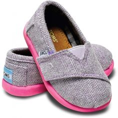 Tiny TOMS Pink Pop Herringbone Classic Toddlers