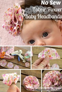 Baby headbands really are a must for your own personal lovely baby girl. Makes special hair piece models for baby, baby, and toddler. Easy no sew Fabric Flower Baby Headbands Easy to make Fabric Flower Baby - new sew - DIY - craft - ribbon - bow - clips - Baby Band, Baby Girl Head Bands, Fabric Flower Headbands, Headband Flowers, Do It Yourself Baby, Baby Turban, Headband Baby, Baby Headband Tutorial, Headbands For Baby Girls