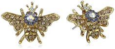 """Betsey Johnson """"Queen Bee"""" Stud Earrings. Items that are handmade may vary in size, shape and color. Made in China."""